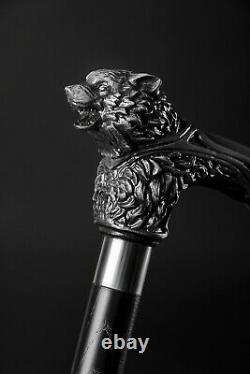 Wolfman Wooden Cane Wolf Head Sculpté Bâton De Marche Pour Les Hommes Cadeau Personnalisé
