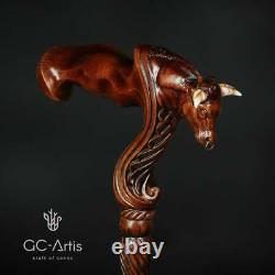 Wooden Ox Bull Cane Walking Stick Ergonomic Palm Grip Poignée Canne À Pied