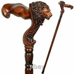 Wooden Walking Stick Cane Lion Head Palm Grip Poignée Ergonomique Animal Wood Carvd